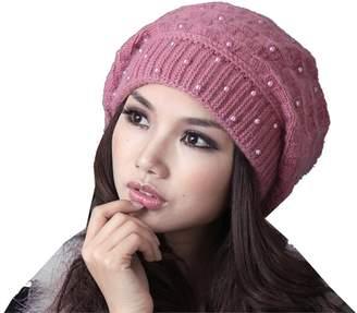 KM CAP KM Women Winter Leisure Korean Style Warmth Dot Knit Cap