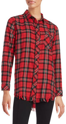 Beach Lunch Lounge Fringed Plaid Flannel Shirt $58 thestylecure.com