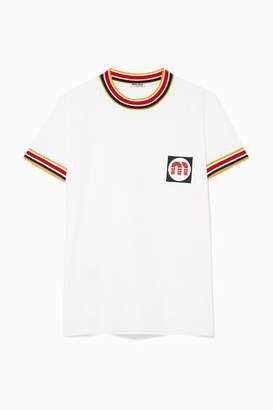 Miu Miu Appliquéd Striped Cotton-jersey T-shirt - White