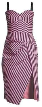 Milly Alice Geo-Stripe Bustier Dress