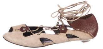 Henry Beguelin Suede Lace-Up Sandals