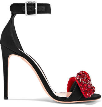 Alexander McQueen Embellished Satin Sandals - Black