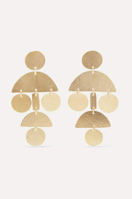 Annie Costello Brown Mini Pompom Gold-tone Earrings - one size