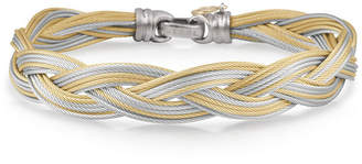 Alor Braided Stainless Steel Micro-Cable Bracelet, Yellow/Gray