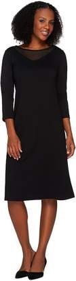 Susan Graver Ponte Knit Dress with Mesh Inset