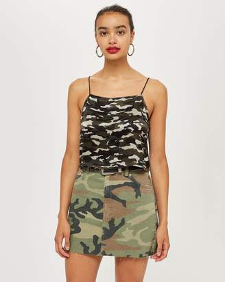 Topshop Cropped Camouflage Print Cami