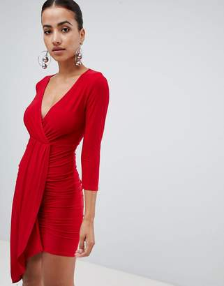 Club L long sleeve wrap v plunge draped dress