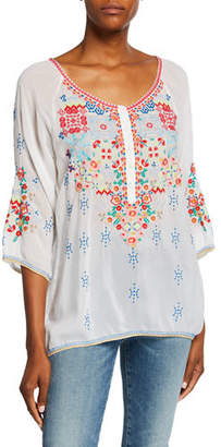 Johnny Was Muna Embroidered Scoop-Neck 3/4-Sleeve Georgette Blouse