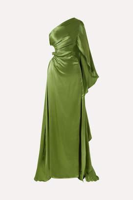 Cult Gaia Cosette One-shoulder Cutout Silk-satin Gown - Leaf green
