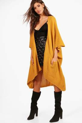 boohoo Pocket Cape Cardigan