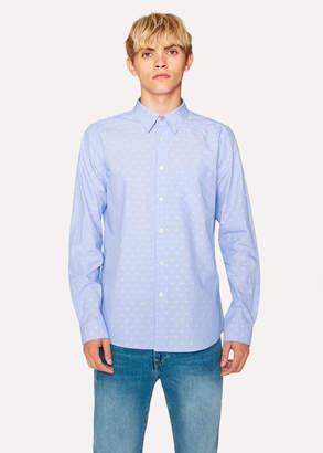 Paul Smith Men's Tailored-Fit Sky Blue Polka Dot Jacquard Cotton Shirt