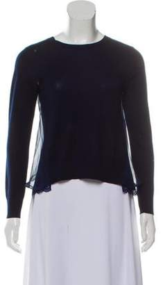 Sacai Luck Woven Sheer-Trimmed Sweater Navy Luck Woven Sheer-Trimmed Sweater