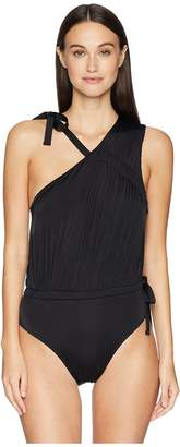 Derek Lam 10 Crosby Asymmetric Ruched Tie Maillot Women's Swimsuits One Piece