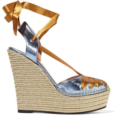 Gucci - Metallic Leather And Satin Espadrille Wedge Sandals - Brass
