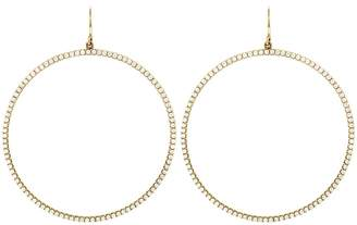 Jennifer Meyer Diamond Open Circle Hoop Earrings - Yellow Gold