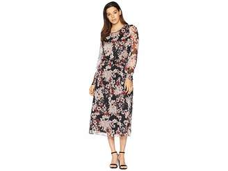 Vince Camuto Long Sleeve Timeless Blooms Cinch Waist Dress