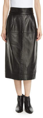 Marc Jacobs High-Waist A-Line Midi Lamb Leather Skirt