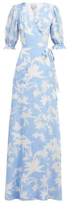 Beulah - Alisha Floral Print Silk Wrap Dress - Womens - Blue White