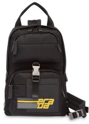 3070b2b68ec9 Prada logo patch saffiano backpack