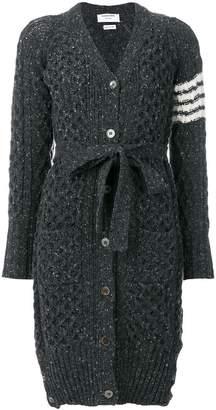 Thom Browne Long Tweed V-neck Cardigan Coat