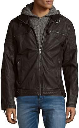 ProjekRaw PROJEK RAW Men's Herringbone Zip-Front Moto Jacket - Black, Size xxl [xx-large]