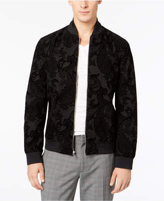 INC International Concepts I.n.c. Men's Flocked Paisley Full-Zip Bomber Jacket, Created for Macy's