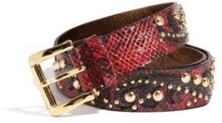 GUESS Embellished Patent Snake-Embossed Belt