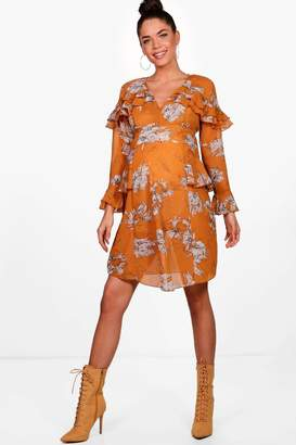 boohoo Maternity Milly Floral Ruffle Skater Dress