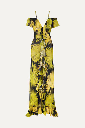 De La Vali Jolene Cold-shoulder Ruffled Printed Georgette Maxi Dress