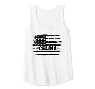 Womens Celina Name Cool Distressed Vintage American Flag Tank Top