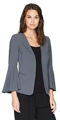 Kensie Women's Stretch Crepe Blazer Bell Sleeve