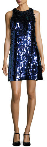 Kate Spade Kate Spade New York Allover Paillette Sleeveless Shift Dress, Black/Blue