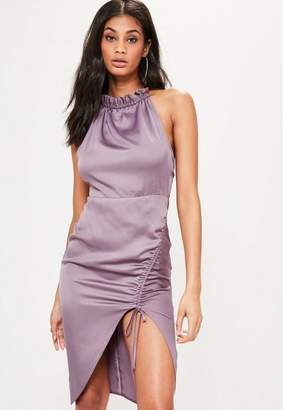 Missguided Purple Silky Ruched Midi Dress