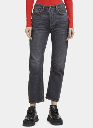 Acne Studios Log Used Straight Leg Jeans in Grey