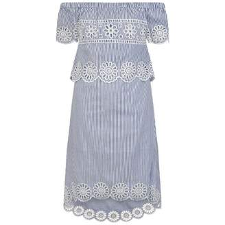 Silvian Heach KidsBlue Striped Broderie Anglaise Dress