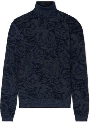 Chloé Metallic Jacquard-knit Turtleneck Sweater - Navy