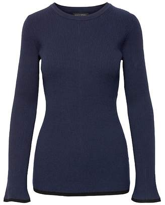 Banana Republic Rib-Knit Flared-Sleeve Sweater Top