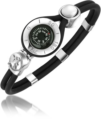 Forzieri Compass Stainless Steel and Rubber Bracelet