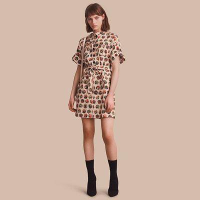 Burberry Burberry Pallas Heads Print Stretch Cotton Shirt Dress