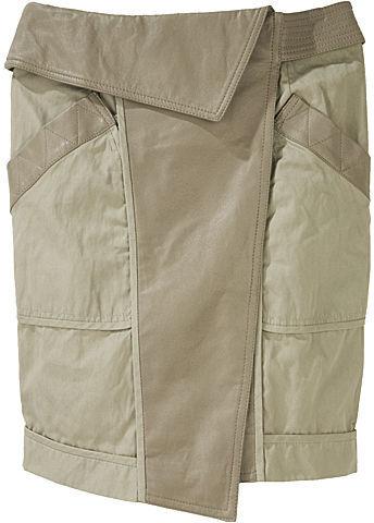 Alexander Wang / Asymmetric Khaki & Leather Skirt