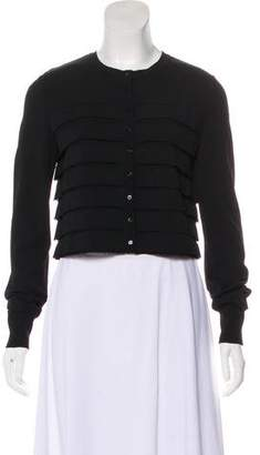 Alaia Ruffle-Accented Button-Up Cardigan