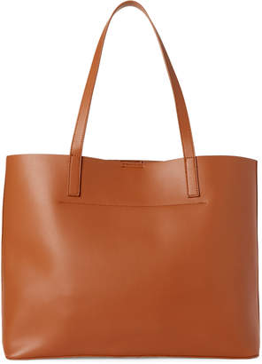 Street Level Brown Faux Leather Tote