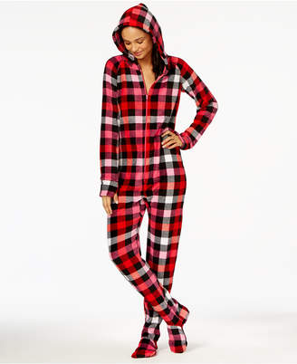 Jenni by Jennifer Moore Hooded Footed Printed Pajama Jumpsuit, Created for Macy's