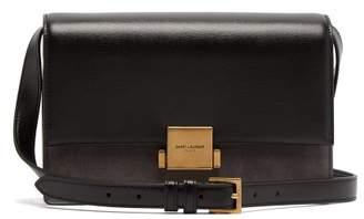 Saint Laurent Bellechasse Medium Leather And Suede Bag - Womens - Black Grey