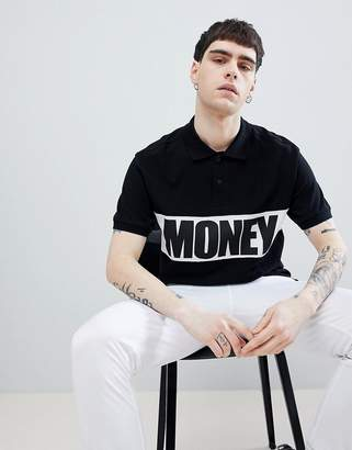 Money Block Short Sleeve Polo Shirt In Black With Contrast Panel