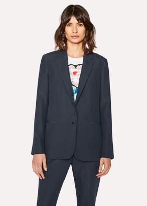 Paul Smith Women's Navy Linen Blazer With Stripe Back