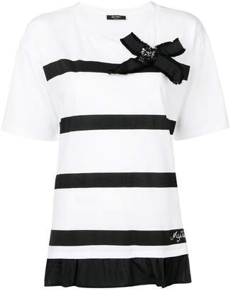 Twin-Set bow detail striped T-shirt