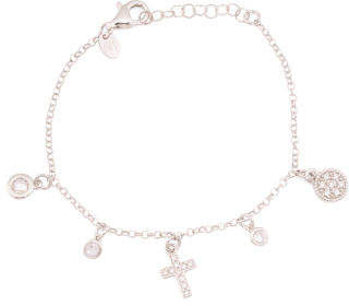 Made In Italy Sterling Silver Cz Cross Charm Bracelet