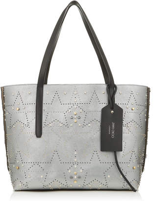 Jimmy Choo TWIST EAST WEST Vintage Silver Mix Metallic Nappa Leather Tote Bag with Studded Graphic Star Motif