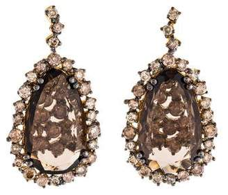 Suzanne Kalan 18K Smoky Quartz & Diamond Starburst Earrings